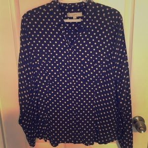 LOFT navy with nude color polka dots. Size Lg.